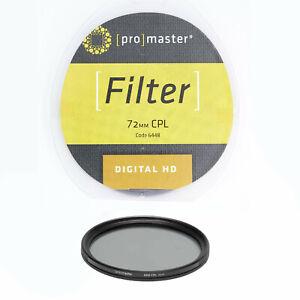 Promaster 72mm CPL Circular Polarizer Digital HD Camera Lens Filter 6448  DR6087