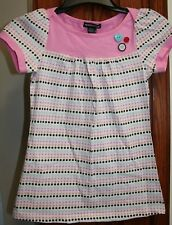 Eyeshadow Girls NWT 14 Pink/brown/blue polka dot top Heart Buttons !!