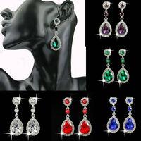 New Women Lady Vintage Carved Crystal Rhinestone Drop Dangle Stud Earrings