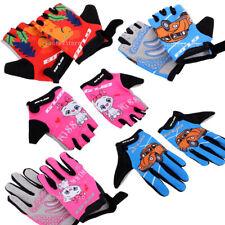 Kids Children Bike Bicycle Cycling Half Finger Gloves Boys Girls Pink Blue