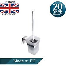 Toilet WC Cleaning Brush & Frosted Glass Holder Wall Mount Stainless Steel Set