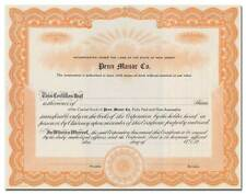 Penn Manor Co. Stock Certificate (Pittsburgh Coal Entity)