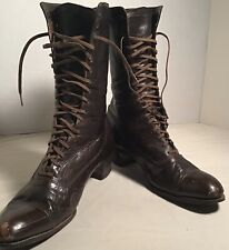Antique Vintage Victorian Brown Leather Granny Witch Boots Made by, Walk Over