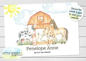 Farm Animals Baby's First Year Calendar, Personalized Calendar for new baby