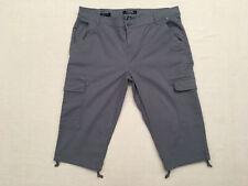 CHAPS Women's Blue-Gray Draw String Leg Cotton Stretch Cargo Capri Pants, Sz. 10