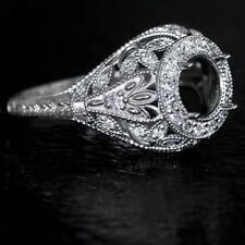 ART DECO HALO MOUNT ROUND ENGAGEMENT DIAMOND SETTING WHITE GOLD ANTIQUE RING