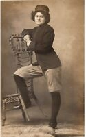 Vintage RPPC Woman in Uniform Real Picture Postcard