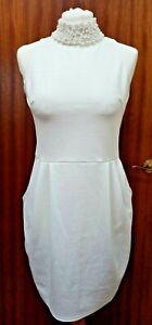Jazmyn Ivory Wet Look Dress With Ivory Pearl Detail Collar BNWT's 10.12,14