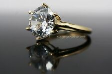 3.00 CTW roung cut engagement wedding VVS/D ring new yellow real gold 14k