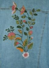 Embroidered & Beaded Flowers Denim Jean Jacket Stretch Large