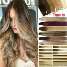Tape-In Invisible Skin Weft Remy Human Hair Extensions Highlight Ombre Colors 9A