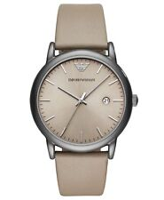 EMPORIO ARMANI Men's Dress Watch Taupe Leather 43 x 49 mm  AR11116 BRAND NEW!!