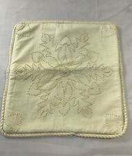 """Vintage Beige Embroidered Floral Pillow Cover 15""""X15"""" Zipper Back Cottage Chic"""