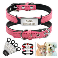 Soft Leather Cat Collars Personalized & Slide-On Tag Pet Puppy Kitten XXS-S