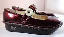Alegria Paloma Patent Leather Shoes Womens size 38 8 - 8.5 Burgundy Mary Janes