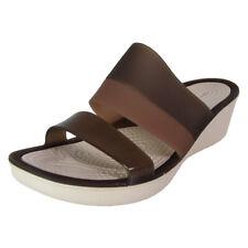 Crocs Womens Colorblock Wedge Sandal Shoes, Mahogany/Stucco, US 5