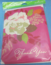 10 Pink Floral Thank You Cards & Envelopes Blank Inside Hallmark Stationery