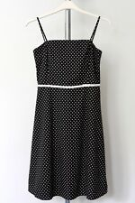 ANNE BROOKS Summer Dress ~10 Petite~ Cotton Black & White Polka Dot Length 39""