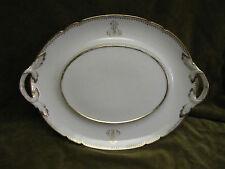plat oval ansé porcelaine de paris blanche et or (Paris porcelain tray)