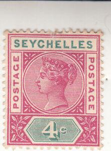 Seyshelles 1890. Queen Victoria. 4c. carmine/green. Used. NG