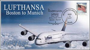 17-061, 2017, Lufthansa, Boston to Munich, First Flight, Pictorial Event Cover