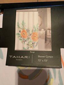Tahari Cotton Blend Shower Curtain Rouge Large Floral Yellow Orange Green 72x72