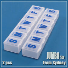 X2 Large Jumbo 7-Day Weekly Vitamin Big Medicine Pill Storage Box Organizer Case