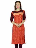 Bimba Women 3/4 Sleeve Indian Kurta Kurti Long Tunic Blouse Casual Clothing