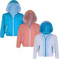 Girls Boys Long Sleeve Windbreaker Jacket Kids Zip Light Hooded Coat 3-12 Years