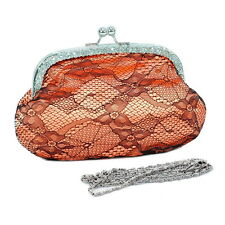 Rhinestone accented satin evening bag with lace overlay - orange