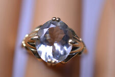 14K YELLOW GOLD 2.67 CARAT OVAL AQUAMARINE RING IN FANCY SETTING SIZE 5.25