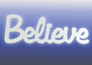 """""""Believe"""" Inspirational Home/Kitchen Word in white from Splosh Gifts 39x14cm"""