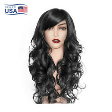 Womens Anime Cosplay Synthetic Long Hair Full Wig Natural Curly Wavy Straight