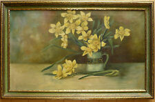 FLORAL FLOWERS IMPRESSIONIST IMPRESSIONISM EARLY 1920s 30s ERA OLD OIL PAINTING