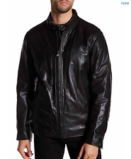NWT Andrew Marc Rhinecliff Genuine Leather Jacket In BLACK Sz L  Rt $580