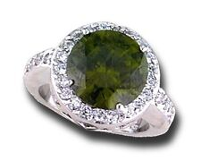 Dark Olive Swarouski Crystal Cubic Zirconia Rhodium Ring, R.S. Covenant Size 7
