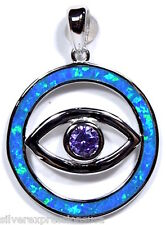 Azul Ópalo De Fuego Incrustación & Amatista Plata de ley 925 Evil Eye