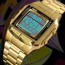 Reloj Pulsera SKMEI reloj Deportes Mujer Hombre Reloj Alarma Impermeable Digital LED De Oro