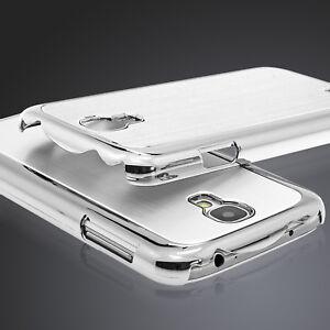 Samsung Galaxy S4 i9500 Schutzcase Schutzhülle Aluminium Alu Back Cover silber