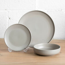 12 Piece Taupe Grey Stoneware Dinner Service Crockery Set Plates Serving Bowls