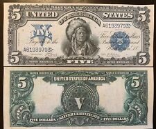 Reproduction 1899 United States $5 Bill Silver Certificate Indian Chief Copy