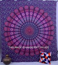 Indian Peacock Mandala Throw Wall Hanging Handmade Tapestries Queen Bedspread