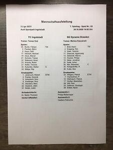 Aufstellung FC Ingolstadt - SG Dynamo Dresden 1:0 24.10.2020 3. Liga
