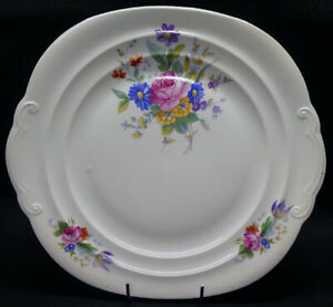 Vintage Cake Plate with Flower decoration marked EPIAG D.F Czecho-Solovakia