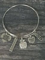 Teacher Charm Bangle Bracelet, Women Teacher Jewelry Gift, Teacher Appreciation