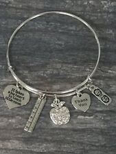 Teacher Charm Bangle Bracelet, Womens Teacher Jewelry Gift, Teacher Appreciation
