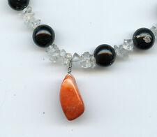 """Black Gemstone & Crystal beads w/ gemstone drop 16"""" Variations between necklaces"""