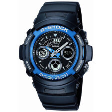Casio Mens G-Shock Combination Wrist Watch, Blue Band, Shock Resist, World Time