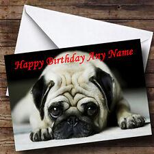 Triste Pug Perro Personalizado Cumpleaños tarjeta de saludos