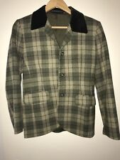 Marks & Spencer Women's Jacket 100% Wool Olive Check - Size 10 - Made in UK 1994